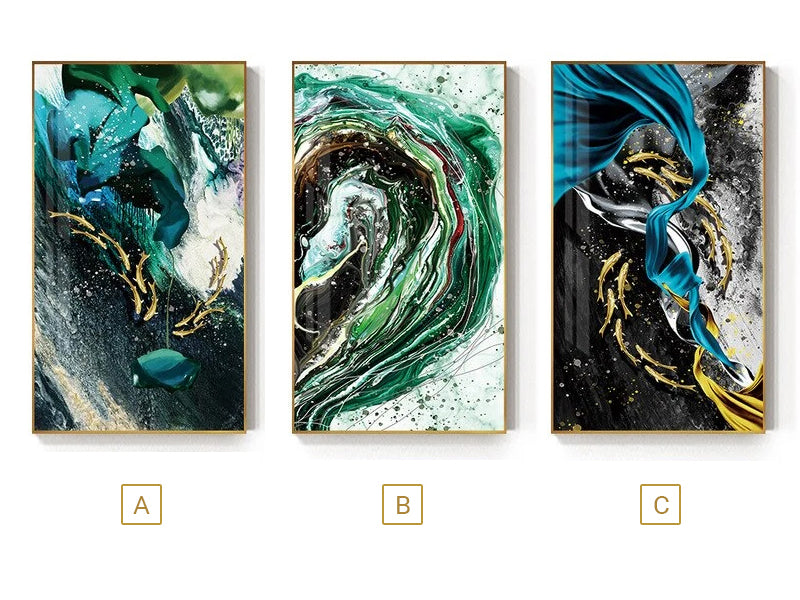 Luxury Abstract Nordic Wall Art Lucky Golden Fish Green Blue Contemporary Fine Art Canvas Prints Luxury Home Office Wall Art Decor