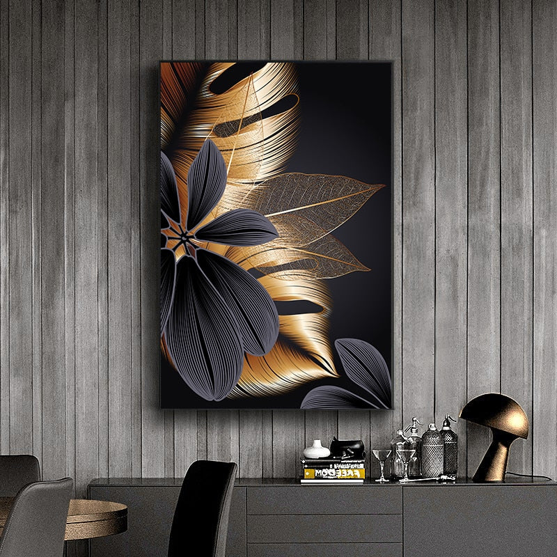 Luxury Black Golden Leaf Wall Art Fine Art Canvas Prints Modern Abstract Tropical Botanical Upscale Pictures For Living Room Loft Apartment Home Office Decor