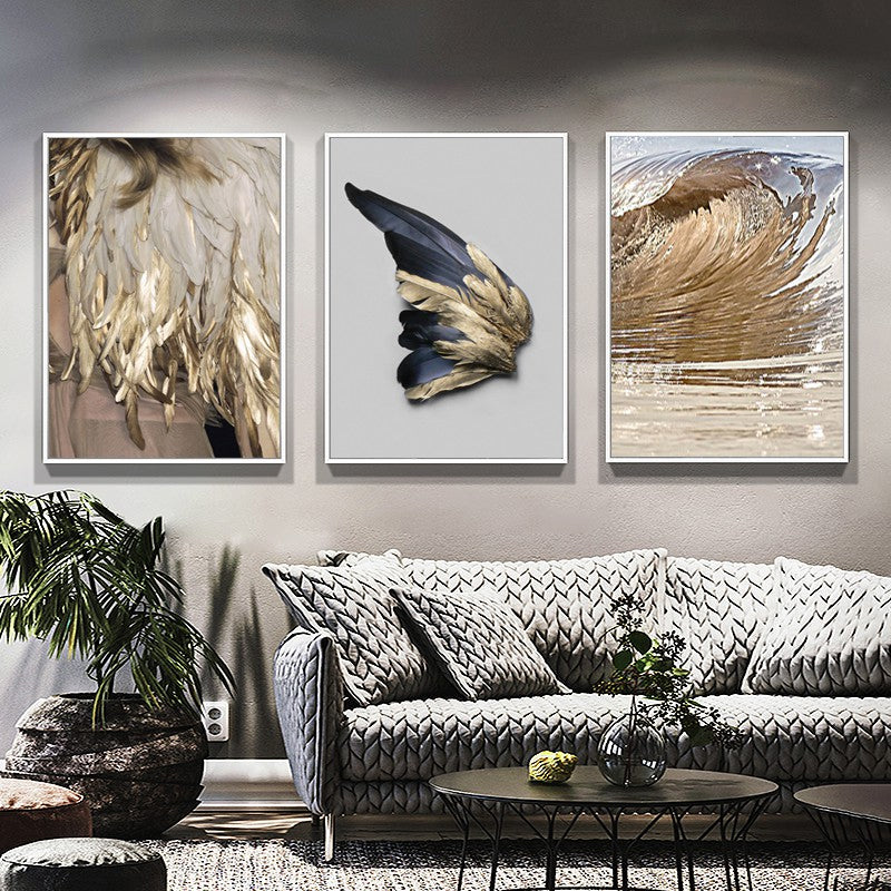 Luxury Gold Wing Wall Art Golden Feathers Shimmering Wave Fine Art Canvas Prints Nordic Pictures Living Room Bedroom Glam Home Decor