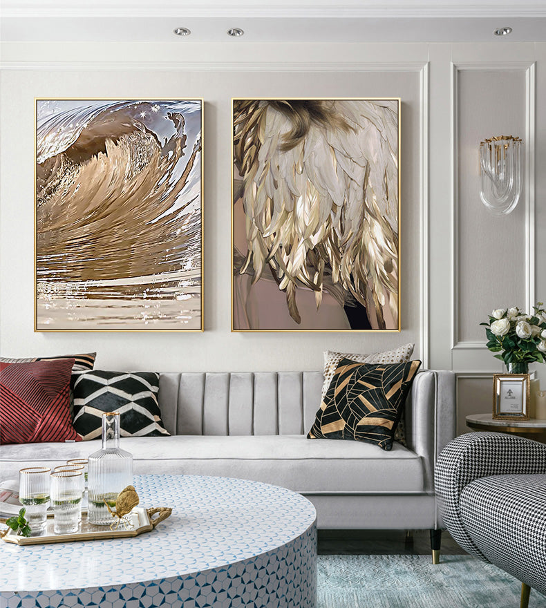 Luxury Gold Wing Wall Art Golden Feathers Shimmering Wave Fine Art Canvas Prints Nordic Style Pictures For Living Room Bedroom Glam Home Interior Decor