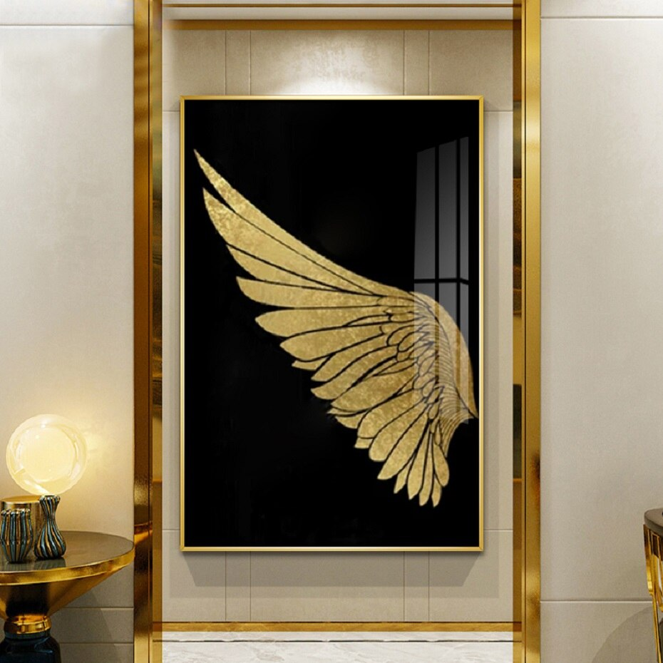 Luxury Golden Wings Black Gold Wall Art Modern Chic Fashion Salon Pictures Fine Art Canvas Giclee Prints For Boutique Living Room Glam Home Decor
