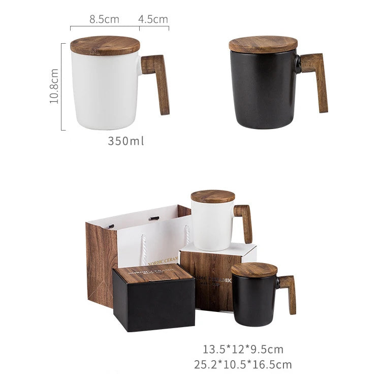Luxury Nordic Coffee Mug Scandinavian Design Ceramic Cup With Wooden Lid And Handle Personal Mug For Coffee Lovers Black or White With Gift Box Set Options