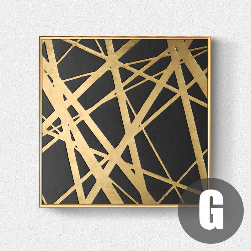 Luxury Golden Black Abstract Stylish Modern Wall Art Fine Art Canvas Prints Pictures For Office Living Room Bedroom Home Interior Decor