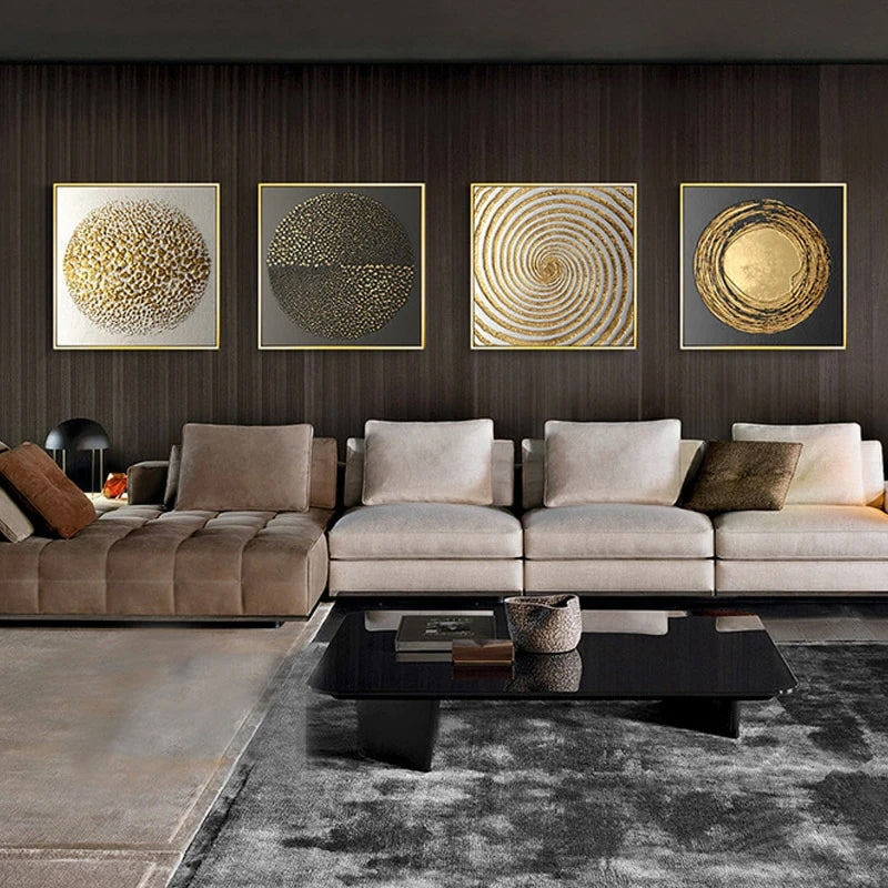 Luxury Nordic Golden Black Abstract Stylish Modern Wall Art Fine Art Canvas Prints Pictures For Office Living Room Bedroom Home Interior Decor