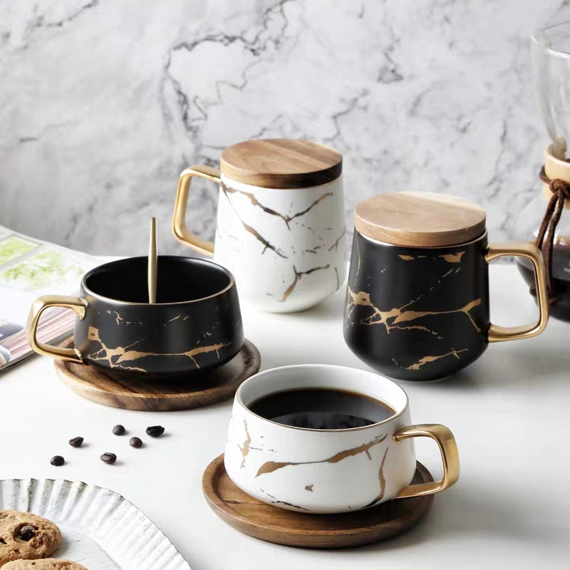 Luxury Nordic Style Golden Marble Elegant Ceramic Coffee Mugs Reinforced Porcelain With Matte Glaze And Simple Lines With Optional Wooden Lid