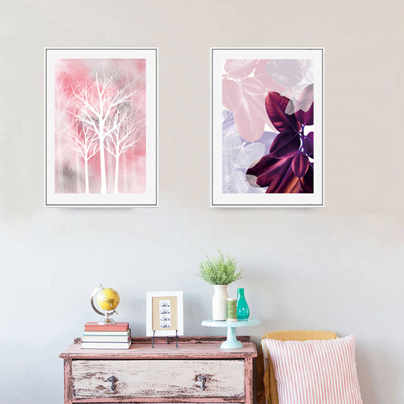 Magical Dream Pink Leaves Woodland Wall Art Purple Flower White Trees Silhouette Abstract Floral Nordic Fine Art Canvas Prints Modern Decor