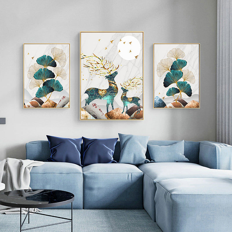 Magical Nordic Moonlight Deer Wall Art Fine Art Canvas Prints Modern Abstract Landscape Pictures Luxury Living Room Wall Art Home Interior Decor