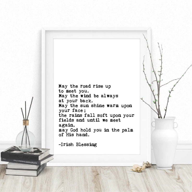 May The Road Rise Up To Meet You Simple Irish Blessing Quote Wall Art Black White Minimalist Fine Art Canvas Print Modern Pictures For Home Office Interior Decor
