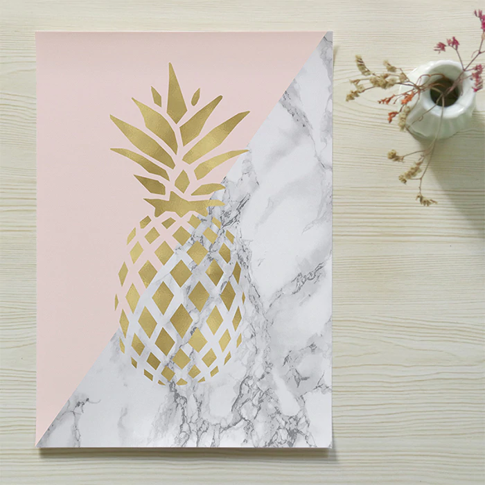 Me And You Forever Golden Pineapple Wall Art Fine Art Canvas Prints Pink Marble Gold Love Quotations Posters Nordic Style Bedroom Wall Art