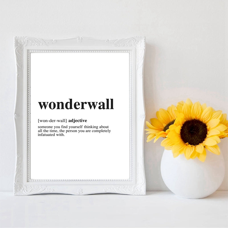 Meaning Of Wonderwall Quotation Wall Art Fine Art Canvas Prints Minimalist Black White Posters For Living Room Bedroom Nordic Style Home Interior Decor