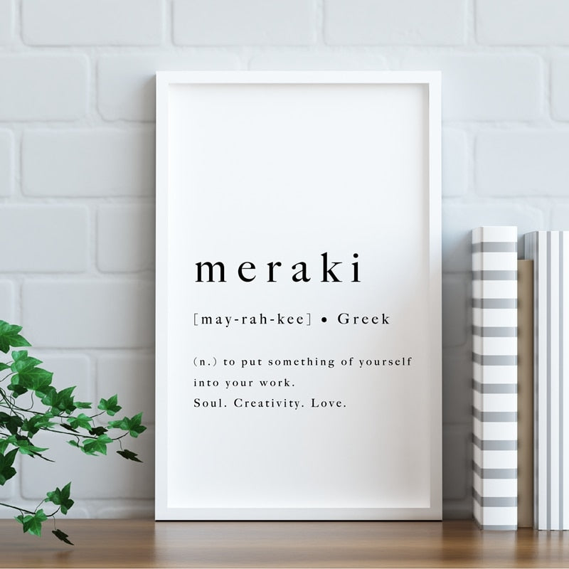 Meraki Definition Simple Greek Quote Wall Art Fine Art Canvas Print Meaning Of Eunoia Motivational Inspirational Daily Mantra Posters Living Room Home Office Decor
