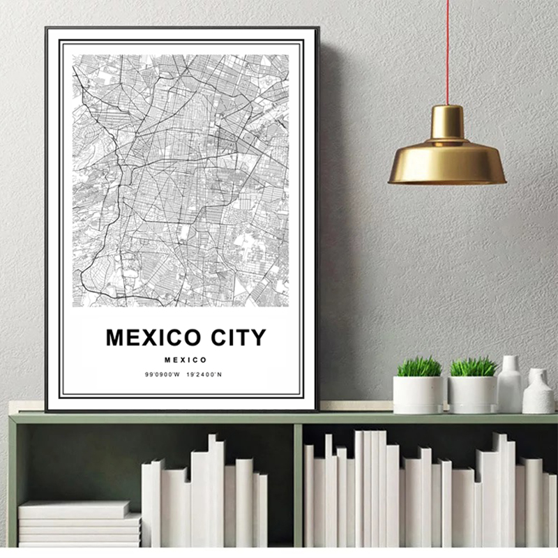 Mexico City Map Wall Art Black White Fine Art Canvas Prints Minimalist Nordic Style Wall Decor Travel Map Art Posters For Office Living Room Modern Home Decor