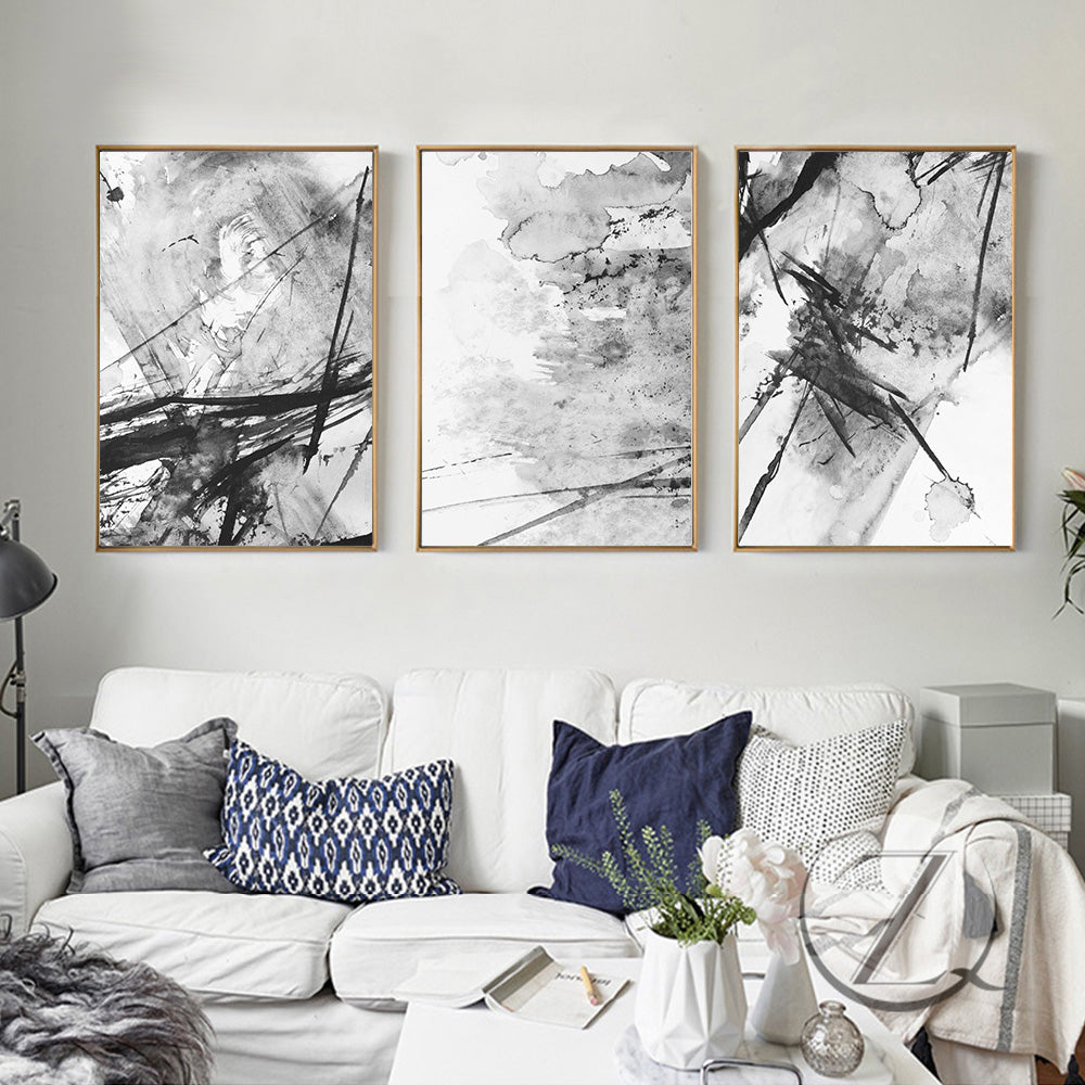 Minimalist Abstract Black White Watercolor Wall Art Fine Art Giclee Print On Canvas Modern Pictures For Living Room Bedroom Scandinavian Style Interior Wall Art Decor