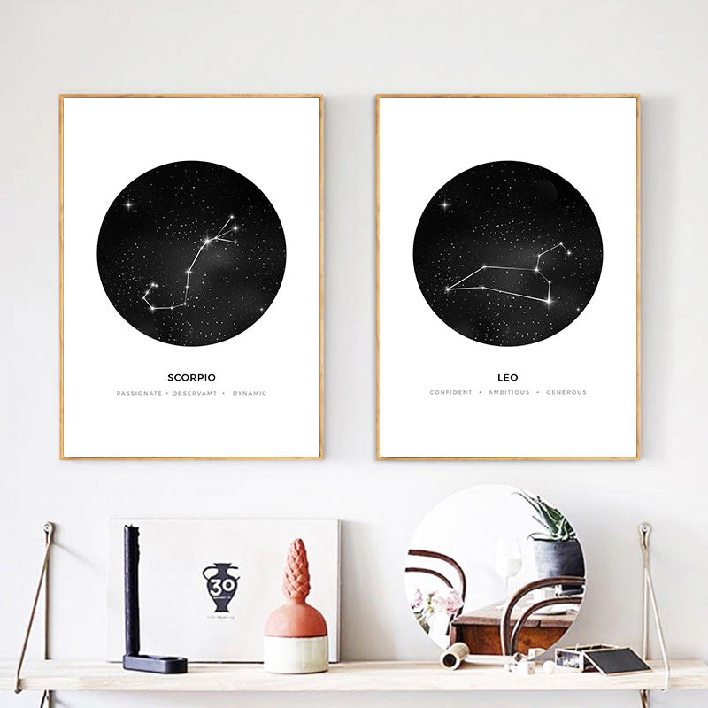 Minimalist Abstract Constellations Wall Art Black And White Star Signs Astrology Fine Art Canvas Prints For Living Room Bedroom Home Decor