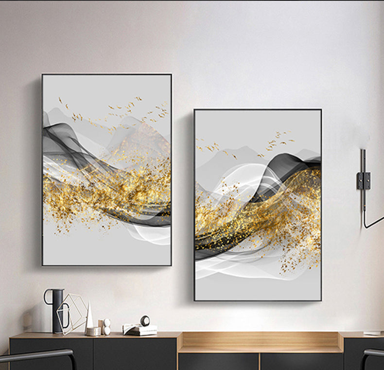 Minimalist Abstract Golden Landscape Nordic Wall Art Fine Art Canvas Prints Luxury Pictures For Living Room Dining Room Modern Home Office Interior Decor