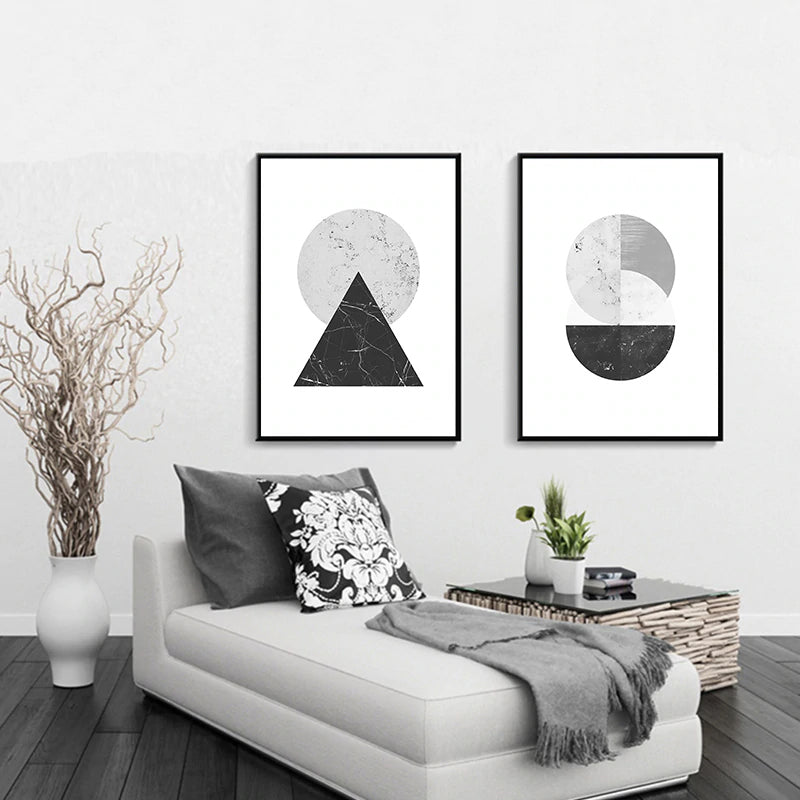 Minimalist Abstract Marble Geometric Nordic Wall Art Black White Gray Fine Art Canvas Prints Modern Pictures For Living Room Bedroom Home Office Decor