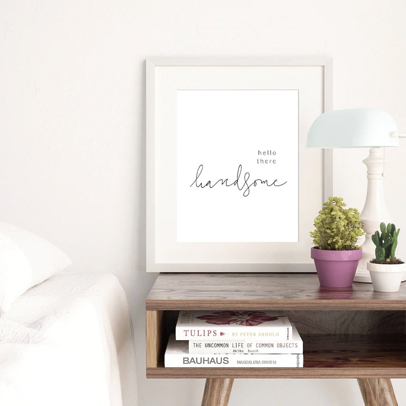 Minimalist Bedroom Quotes Wall Art Canvas Prints Good Morning Gorgeous Hello There Handsome Black and White Nordic Poster Modern Wall Art Home Decor