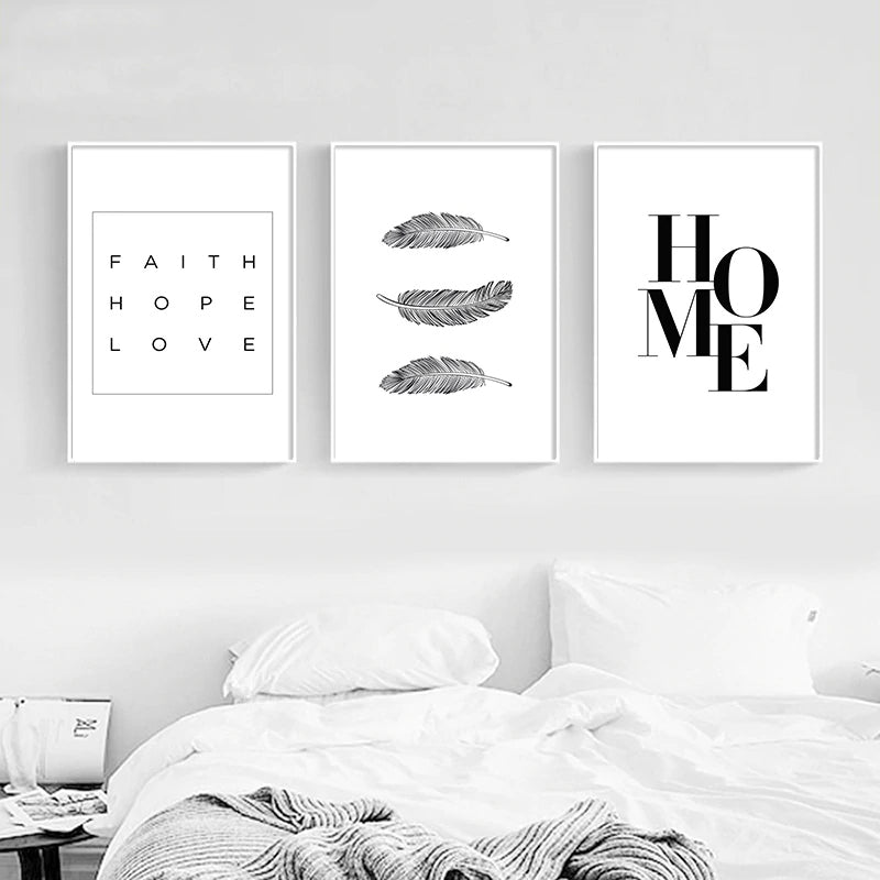 Minimalist Black And White Feathers Home Wall Art Fine Art Canvas Prints Faith Hope Love Quote Nordic Style Pictures For Simple Home Interior Decor