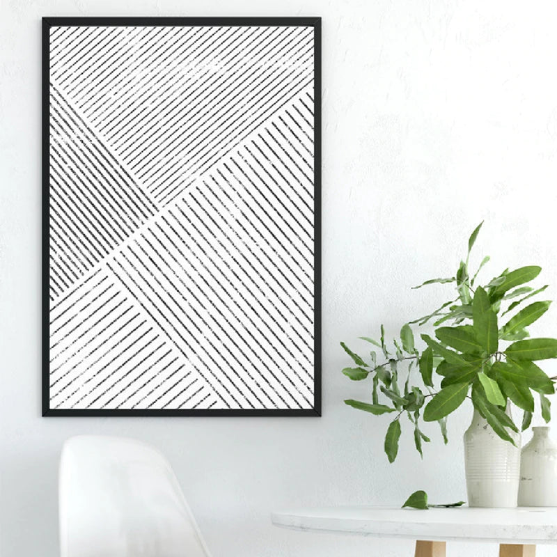 Minimalist Black White Abstract Geometrical Lines Wall Art Fine Art Canvas Prints Pictures For Office Living Room Dining Room Modern Home Decor
