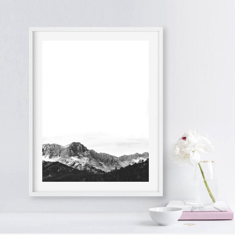 Minimalist Black & White Landscape Wall Art Fine Art Canvas Print Inspirational Mountain Wilderness Scenery Modern Pictures For Living Room Scandinavian Style Decor