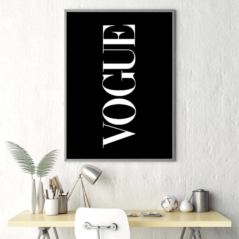 Minimalist Black White Luxury Fashion Posters Wall Art Fine Art Canvas Prints Modern Typographic Design In Vogue Posters For Modern Salon Interior Design