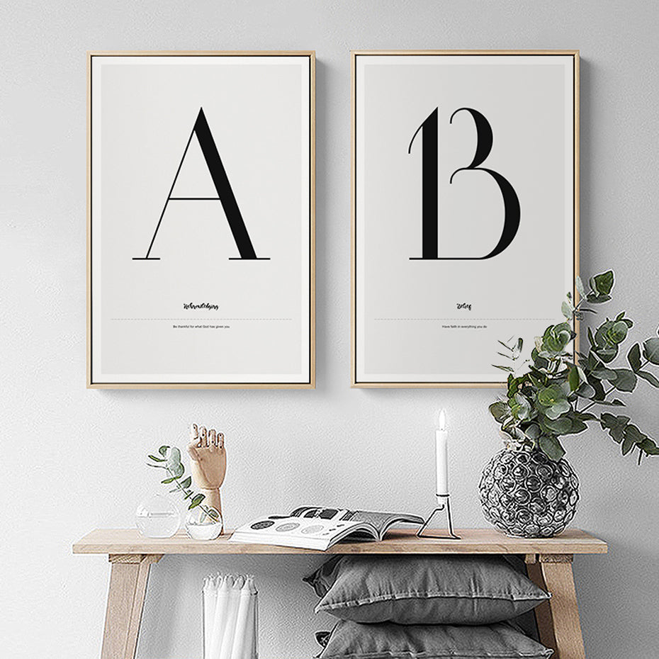 Minimalist Black and White Alphabet Posters ABC Letters And Quotes Wall Art Canvas Prints Paintings For Nursery Office Modern Home Decoration