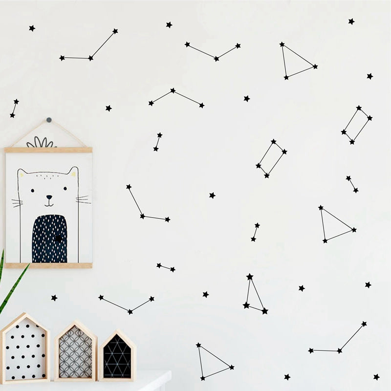 Minimalist Constellation Zodiac Wall Decals For Kids Bedroom Removable PVC Mural For Nursery Wall Creative Abstract Astronomy DIY Nursery Room Decoration