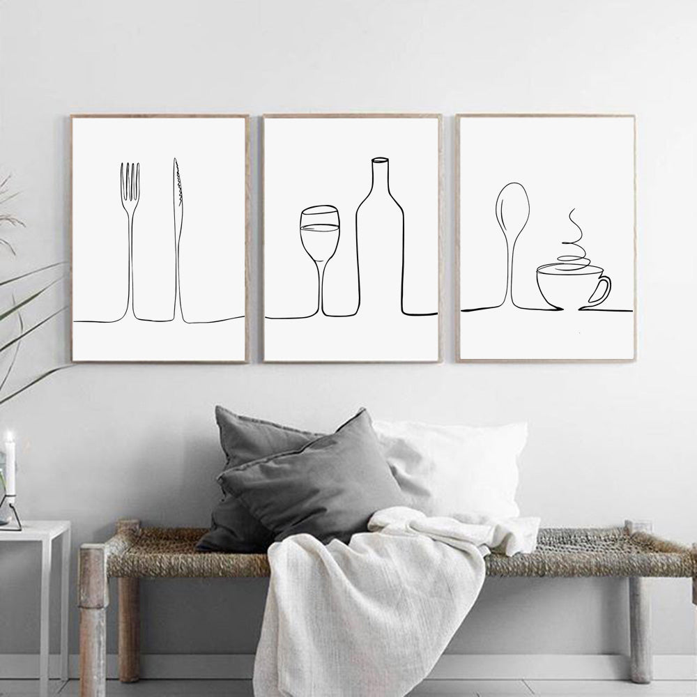 Minimalist Food & Drink Kitchen Wall Art Black White Fine Art Canvas Print For Coffee Shop Restaurant Tea Room Cafe Nordic Style Home Interior Decor