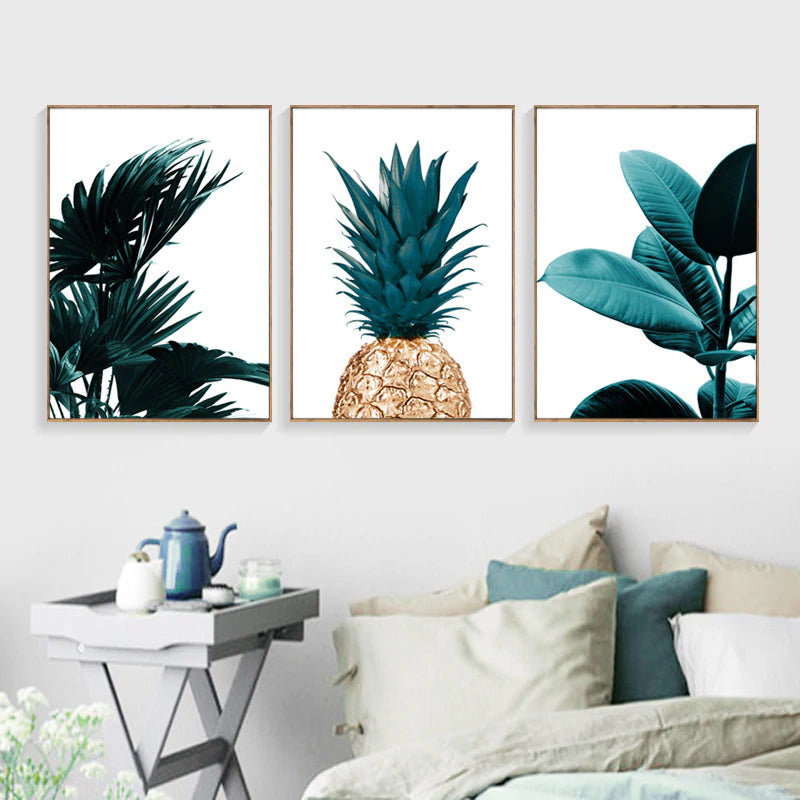 Minimalist Gold Pineapple Stylized Green Leaves Nordic Wall Art Fine Art Canvas Prints Modern Pictures For Living Room Home Interior Decor