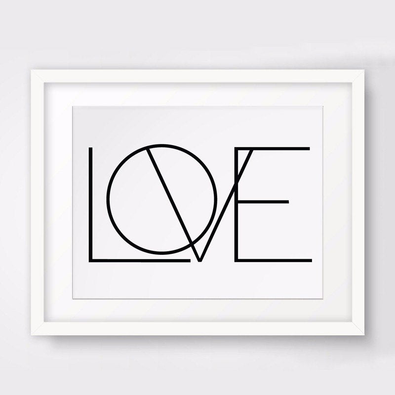 Minimalist Letters of Love Canvas Painting Simple Black and White Art Posters Modern Prints For Bedroom Home Decor
