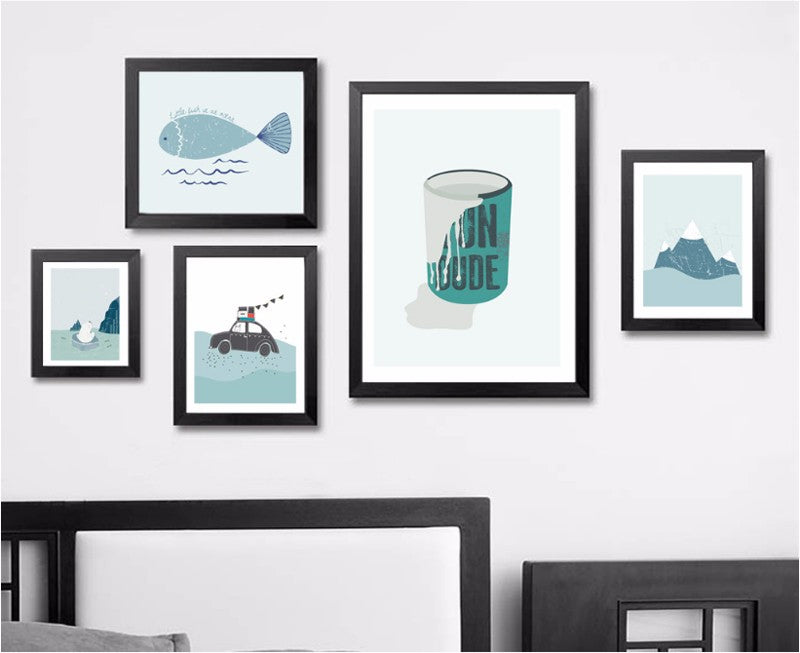 Minimalist Nordic Bathroom Art Blue Jade Ocean and Mountain Theme Inspiring Canvas Painting Posters For Kitchen Bathroom Decor