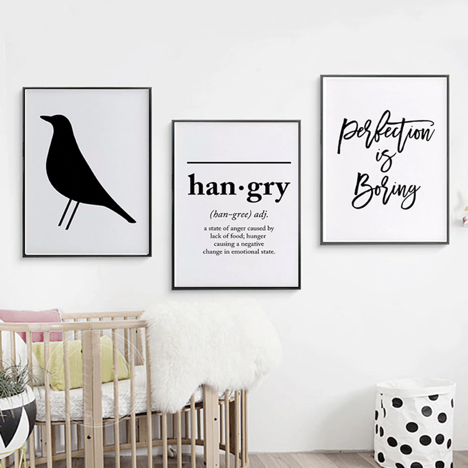 Minimalist Nordic Black and White Wall Art Posters Blackbird Hangry and Perfection is Boring Quotations of Enlightenment Modern Home Decor Art
