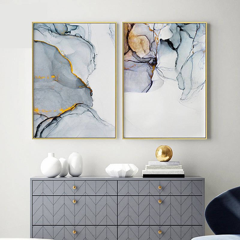 Blue Gray Marble Subtle Hues Minimalist Nordic Abstract Wall Art Fine Art Canvas Prints Pictures For Living Room Bedroom Modern Home Office Wall Decor