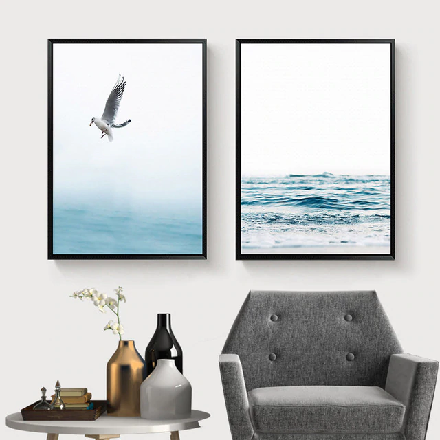 Minimalist Ocean Wave Wall Art Lone Seagull Blue Seascape Posters Fine Art Canvas Prints For Living Room Dining Room Kitchen Wall Decor
