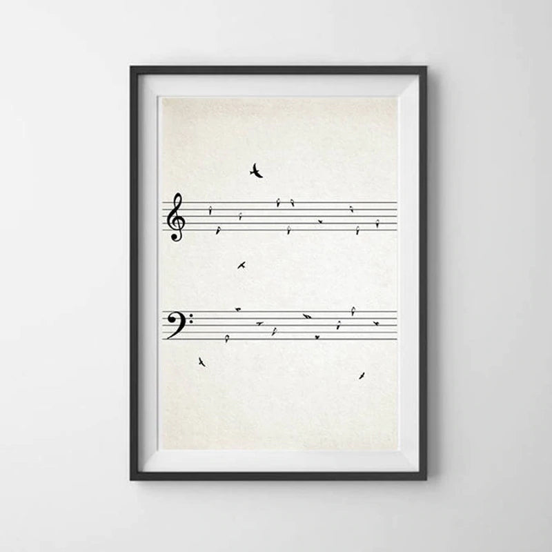 Minimalist Sheet Music Wall Art With Birds On Wire Fine Art Canvas Prints Black And White Modern Poster Picture For Music Classroom Unique Gift For Musician