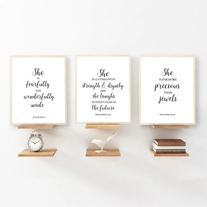 Minimalist Typographic Bible Verse Quotes Wall Art Black White Fine Art Canvas Prints Modern Poster For Girls Bedroom Dressing Room Nordic Style Wall Art Decor