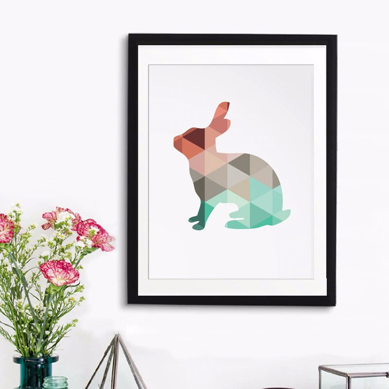 Modern Abstract Animal Art Rabbit Wall Art Canvas Poster Triangular Geometric Design in Pink and Jade Home Decor