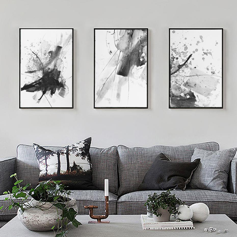 Modern Abstract Art Canvas Paintings Vintage Rustic Color Splash Posters Fine Art Nordic Wall Art Pictures for Office and Living Room Home Decor