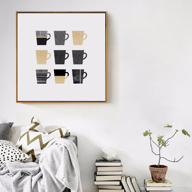 Modern Abstract Black Gold Coffee Cups Cafe Wall Art Nordic Minimalist Canvas Painting Posters For Cafes Kitchens Coffee Shops
