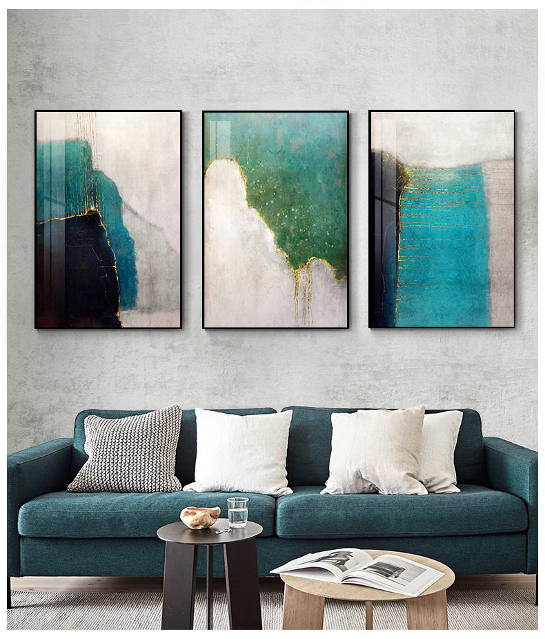 Modern Abstract Canvas Poster Fine Art Print Colorful Striking Wall Art  Rustic Jade Blue Gold Color Scheme Modern Art For Living Room Decor