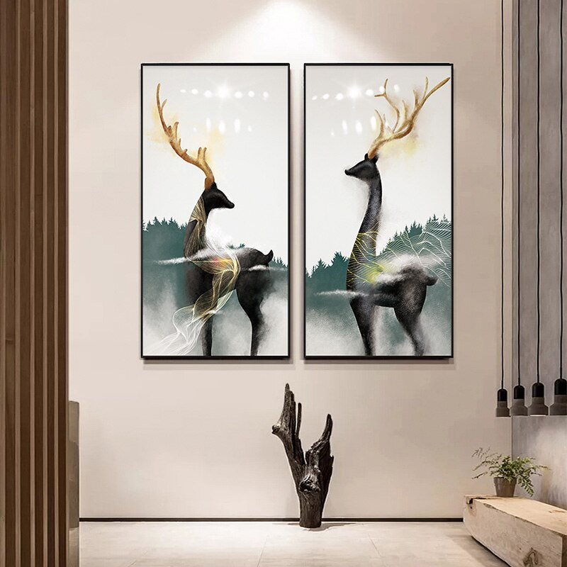 Modern Abstract Deer Luxury Wall Art Fine Art Canvas Prints Contemporary Design Nordic Nature Pictures For Living Room Dining Room Hotel Room Office Decor
