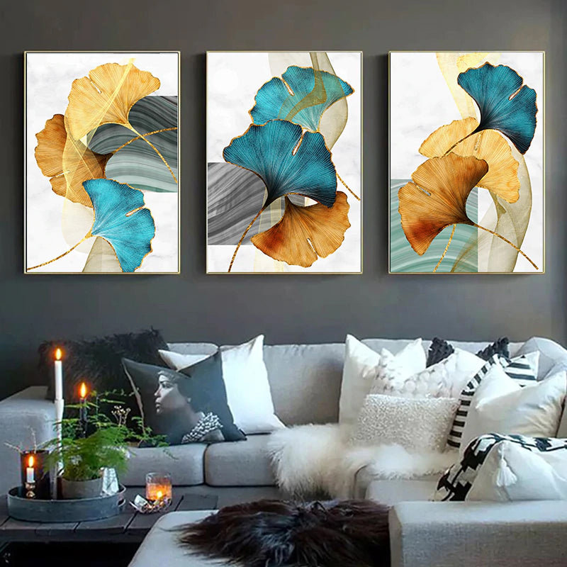 Modern Abstract Floral Wall Art Blue Green Yellow Golden Fine Art Canvas Prints Luxury Pictures For Living Room Bedroom Office Hotel Contemporary Interiors