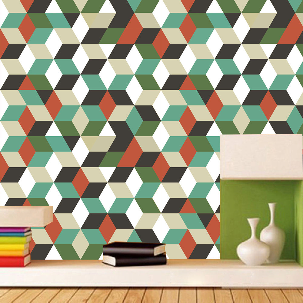 Modern Abstract Geometric Covering For Furniture Cabinets Surfaces Self Adhesive PVC Wall Mural Peel & Stick Vinyl Wallpaper Rolls For Creative DIY Home Decor
