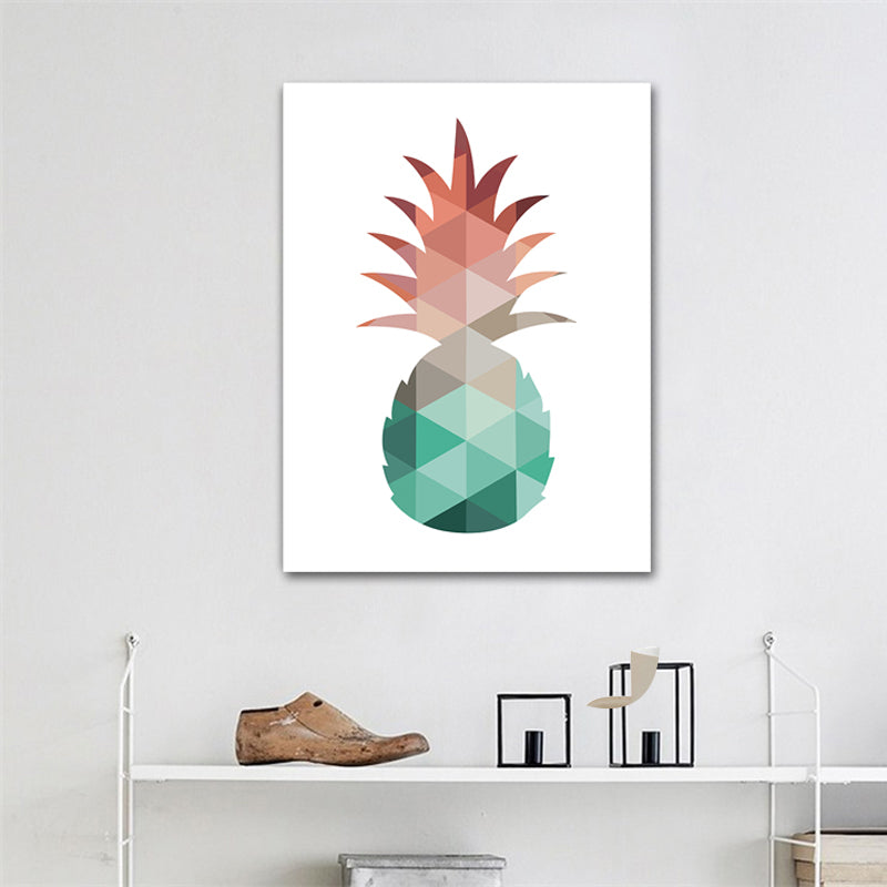 Modern Abstract Geometric Nordic Design Pineapple Art Wall Poster Giclee Canvas Print Coral and Jade Home Kitchen Decor