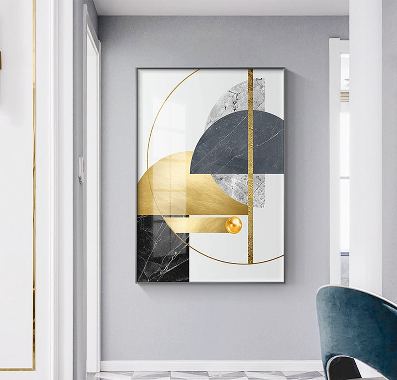 Modern Abstract Golden Geometric Wall Art Fine Art Canvas Prints Contemporary Nordic Style Pictures For Living Room Dining Room Home Office Decor