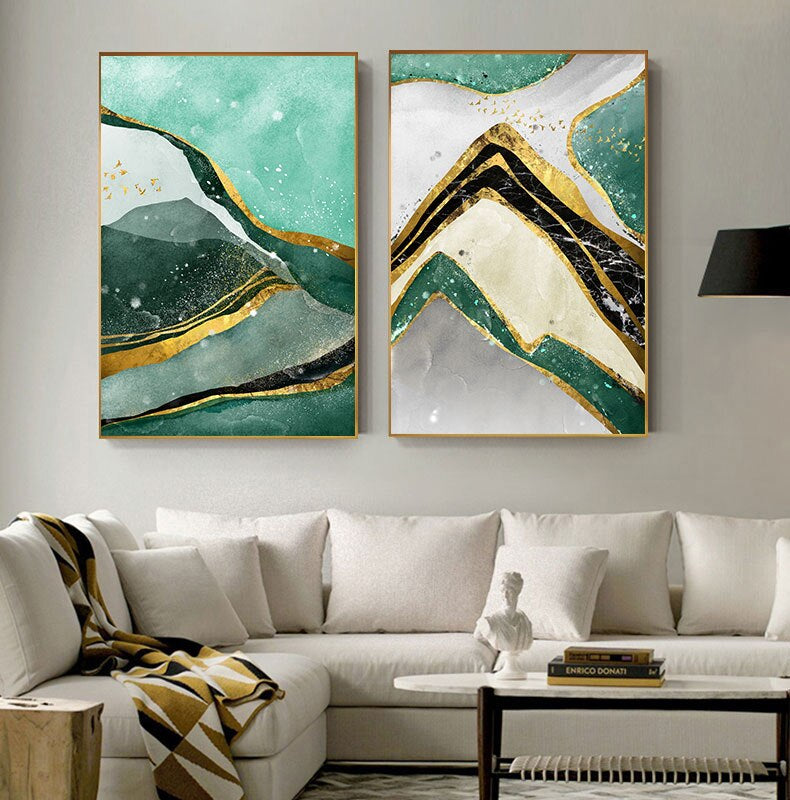 Modern Abstract Golden Green Marble Wall Art Contemporary Nordic Fine Art Canvas Prints For Office Or Home Living Room Wall Decoration
