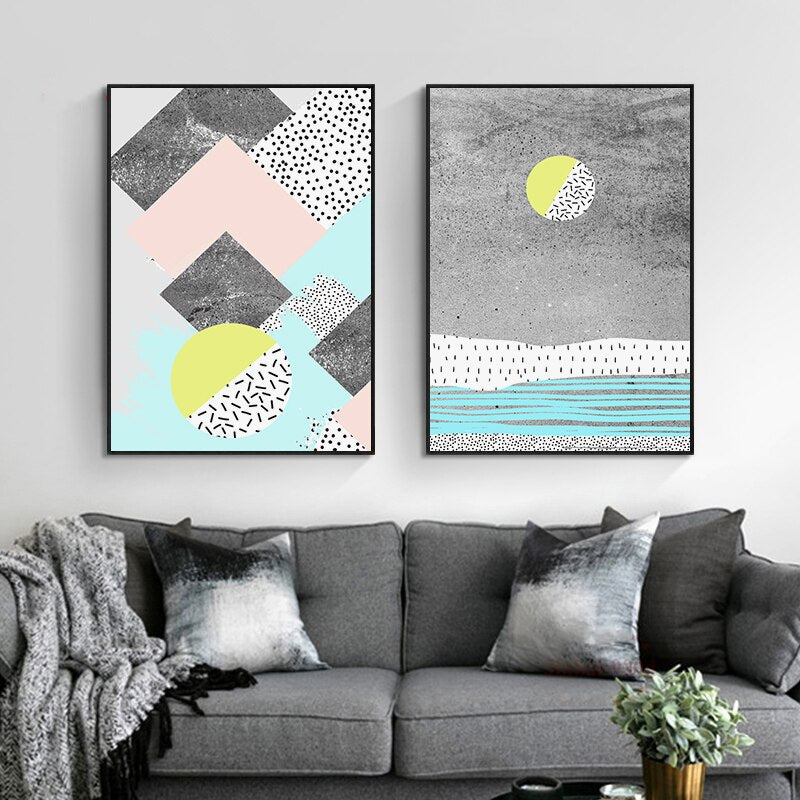 Modern Abstract Landscape Nordic Style Wall Art Pastel Color Fine Art  Canvas Prints Contemporary Pictures For Modern Office Home Decor