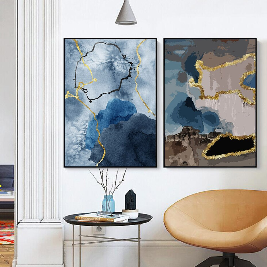 Modern Abstract Marble Wall Art Fine Art Canvas Print Blue Gold Brown Aesthetics Luxury Scandinavian Style Contemporary Art Home Decor