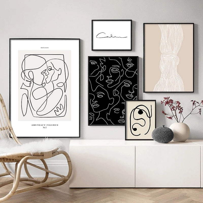 Modern Abstract Minimalist Line Art Pictures For Gallery Wall Art Fine Art Canvas Prints Pictures For Living Room Bedroom Scandinavian Interior Decor