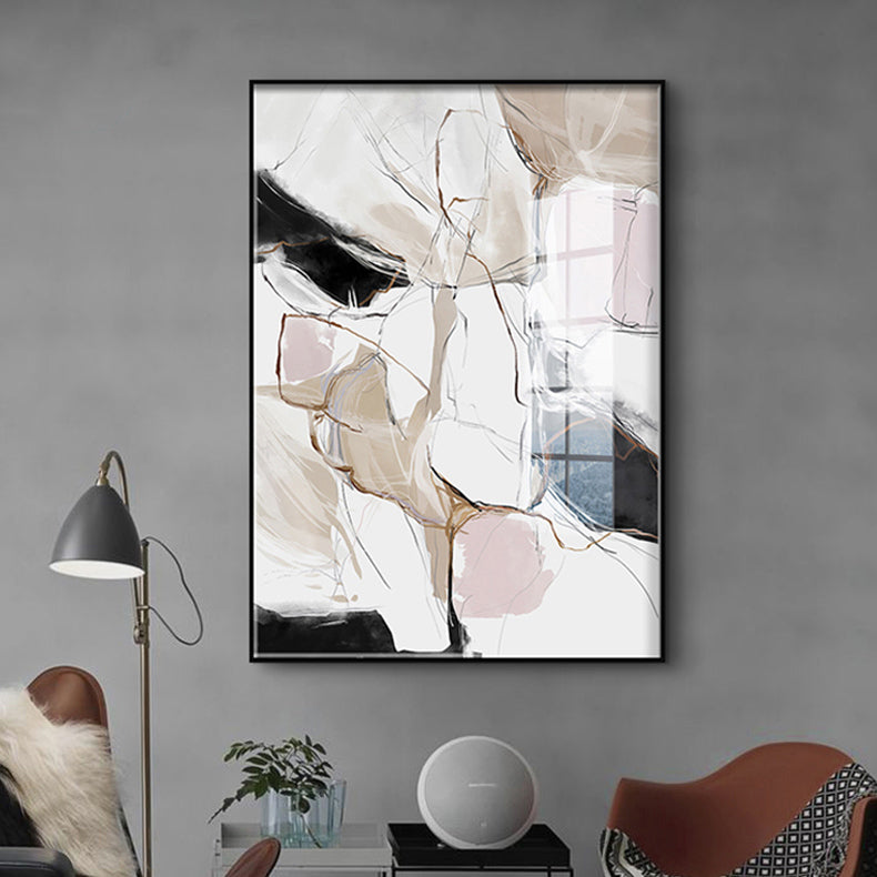 Modern Abstract Pink Beige Wall Art Fine Art Canvas Prints Contemporary Subtle Hue Colors Painting For Scandinavian Home Office Interior Decor